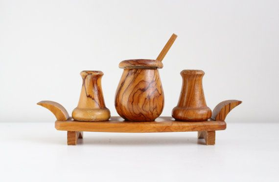 Swedish Vintage Wooden Condiments Set of 3, Salt Shaker, Pepper Shaker, Mustard Jar, Rustic Kitchen Serving, Scandinavian Design by LittleRetronome, $30.00