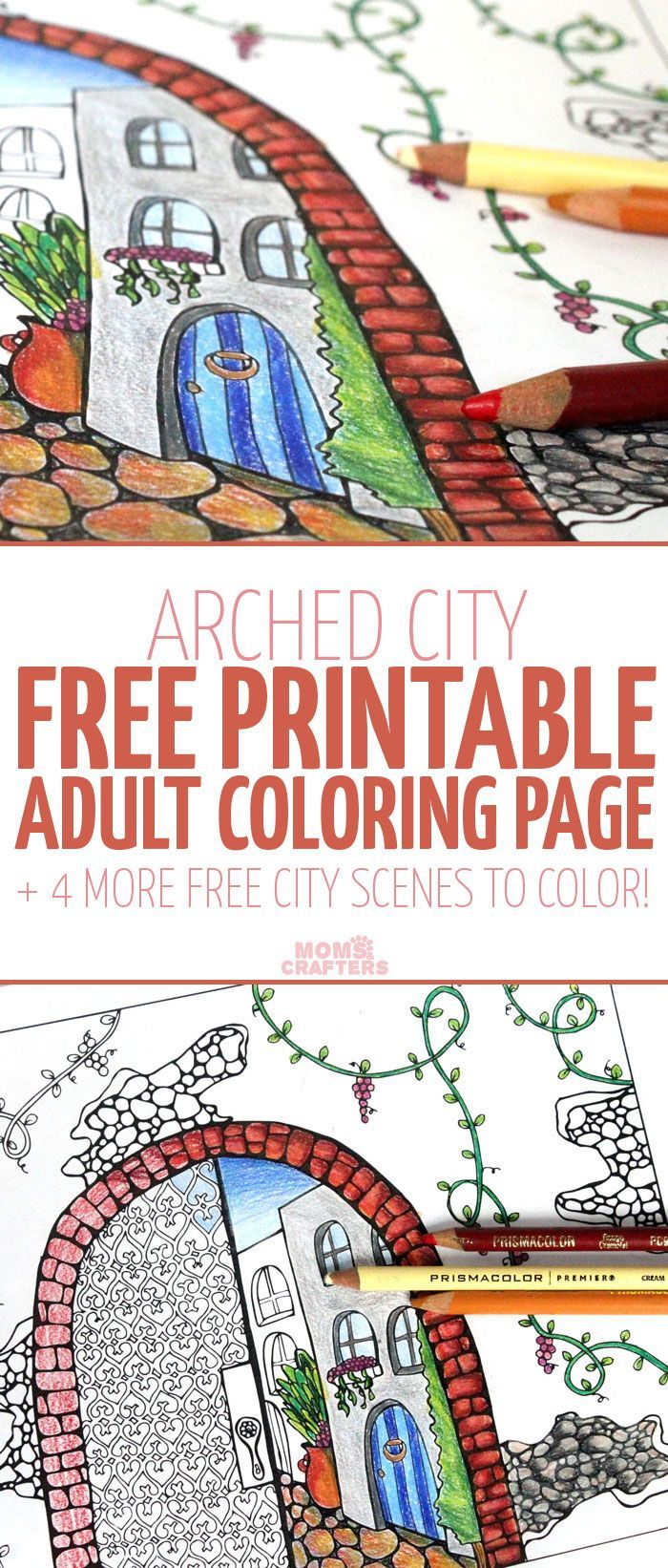 Free printable coloring pages for adults city - A Free Arched City Coloring Page For You To Download