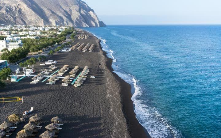Perissa black sand beach, Santorini