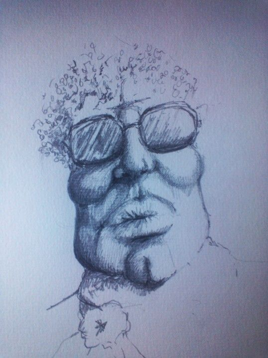 "drawing  with pencil .""mr. dck.head"""