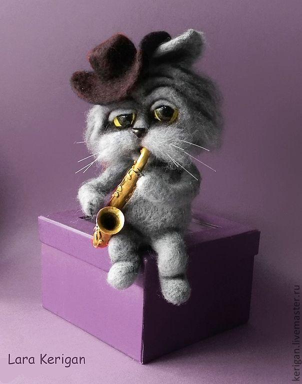Купить Кошачий блюз - серый, кот, Мартовский кот, блюз, кошачья песня, одиночество, музыка