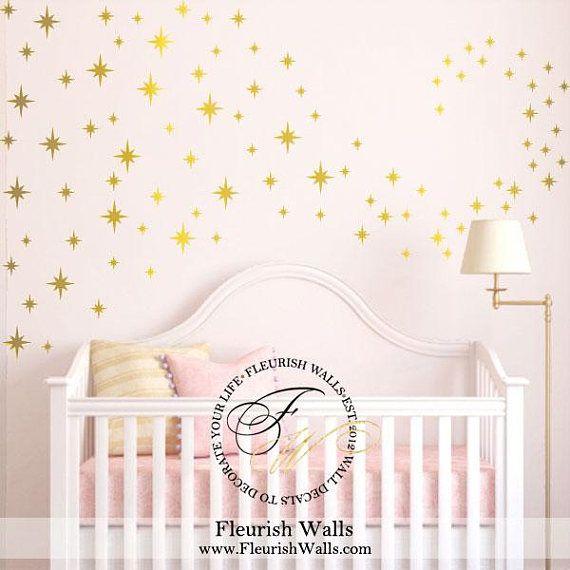 Gold Star Wall Decal Nursery Confetti