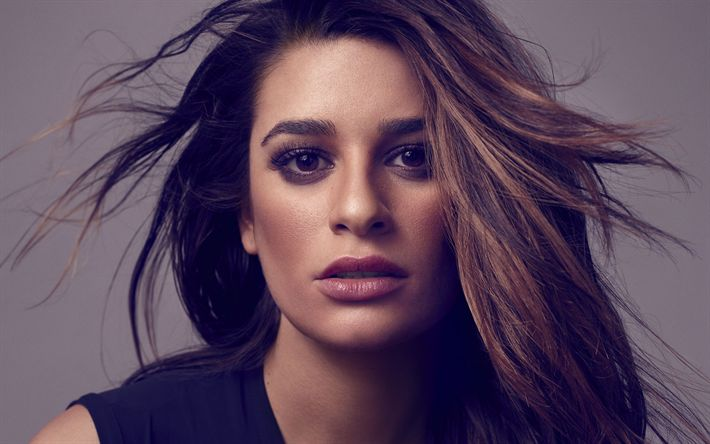 Download wallpapers Lea Michele, American actress, photo shoot, make-up, black dress, television series, Dimension 404, The Mayor