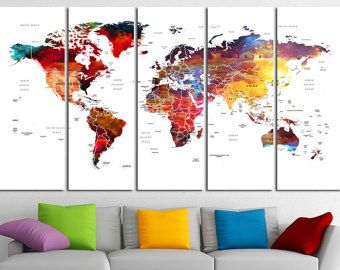 58 best world map images on pinterest world maps art decor and push pin world map canvas print world map wall art set world map print world map poster wall art canvas extra large world map wall decor gumiabroncs Gallery