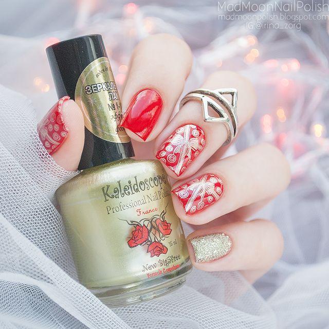 Christmass nail art Новогодний маникюр в оттенках красного и золота - Mad Moon's Blog