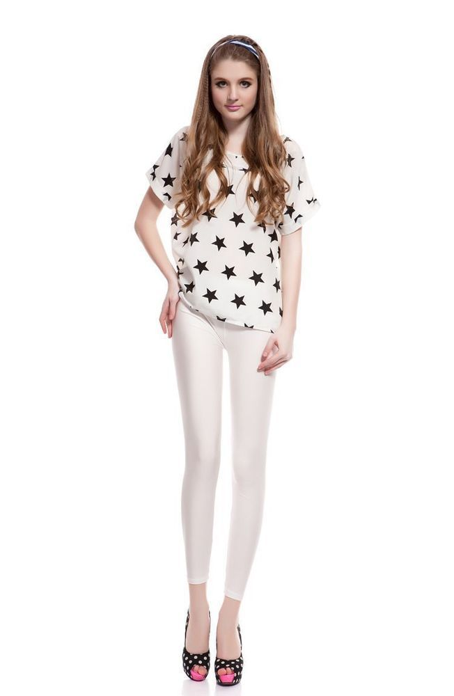 edccca7ff5a990 women shiny white satin neon liquid wet look leggings free size free  shipping #wetland #slimfit