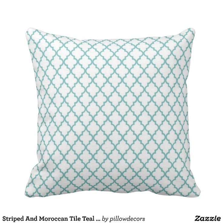 Striped And Moroccan Tile Teal Throw Pillow