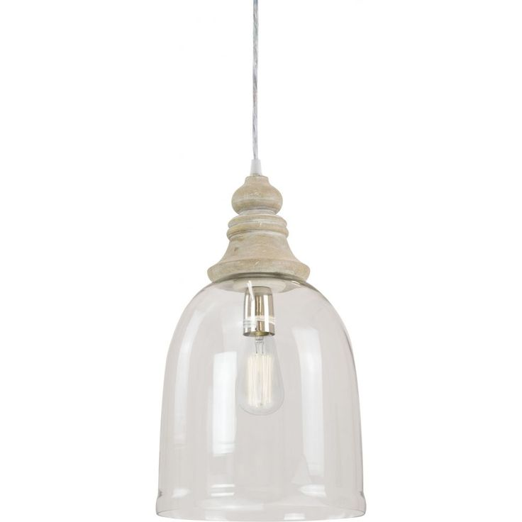 Anglais Clear Glass Pendant Light, Natural Timber