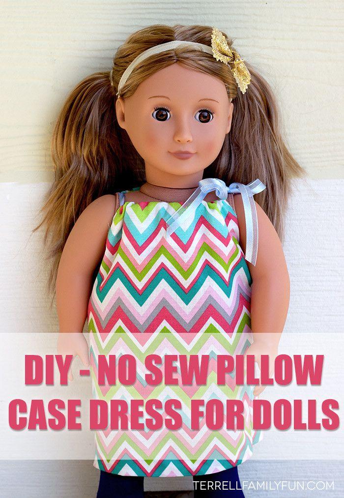 "how to make a pillow case dress for an 18"" doll, no sew american girl clothes, no sew american girl dress #targettoys #shop http://terrellfamilyfun.com/2014/10/no-sew-doll-dress-tutorial/"