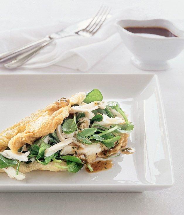 Australian Gourmet Traveller fast recipe for asian-style crab omelette