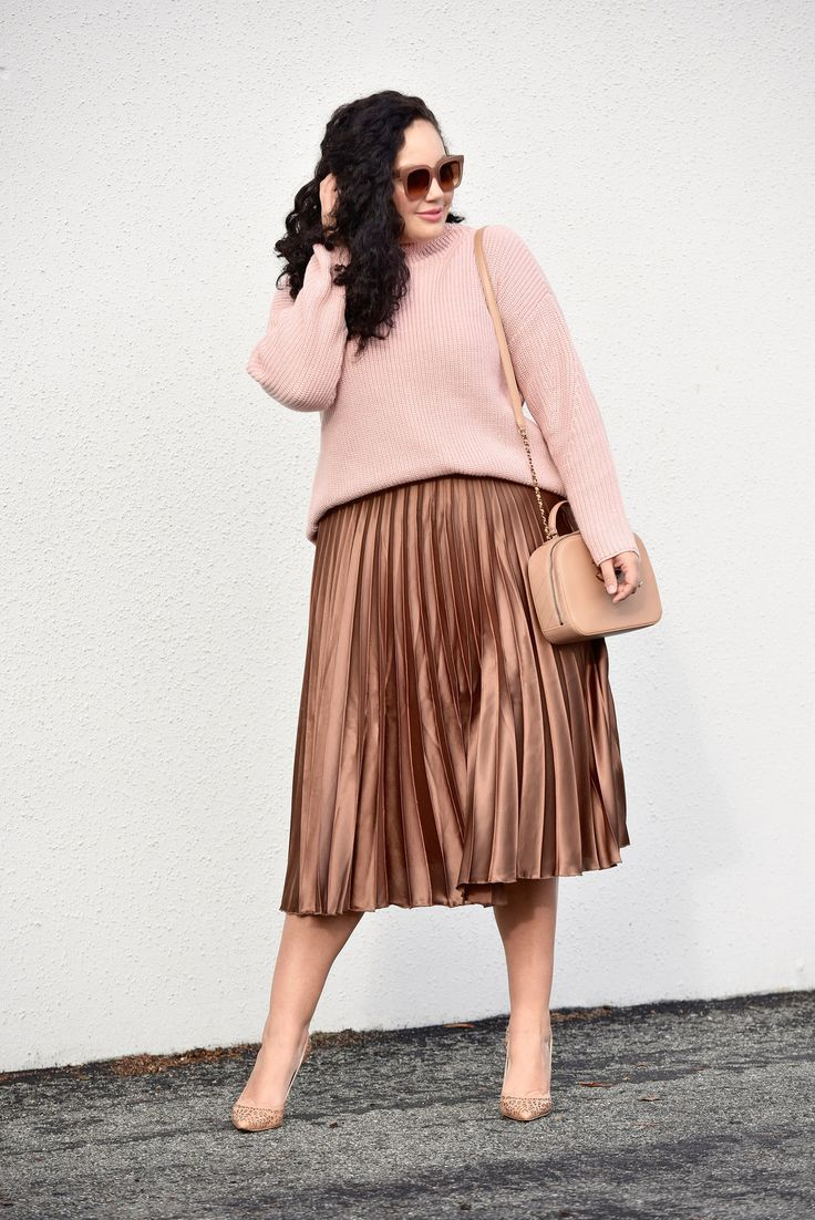 Girl With Curves blogger Tanesha Awasthi wearing a Satin Skirt.
