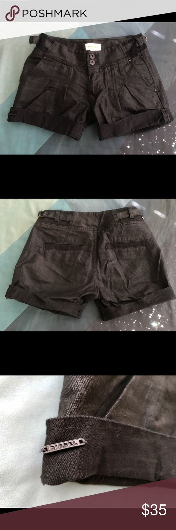 DIESEL shorts Brushed black denim shorts.  Cuffs and pleating on front, with double button fly and double loops and ties on each hip.  These are so cute with literally anything,  I would usually wear a collared button down blouse, throw my hair in a pony, and have a schoolboy vibes look for the day.  These are so high quality and in excellent perfect condition! Diesel Shorts
