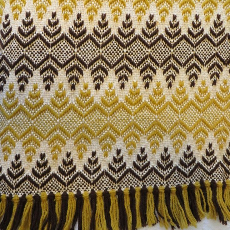 Vintage Woven Chevron Afghan Throw Blanket 60's 70's Handcrafted Swedish Weave