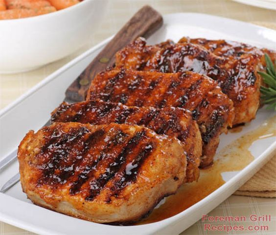Easy pork chop recipe for your George Foreman Grill. The delicious honey glaze is so easy to make and the pork chops will melt in your mouth.