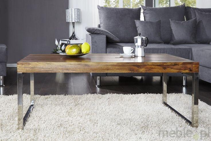 IiNTERIOR Elements Drewniany Stolik Kawowy Ława Drewno Palisander lakier półmat 120x60cm - i21008, Invicta Interior - Meble