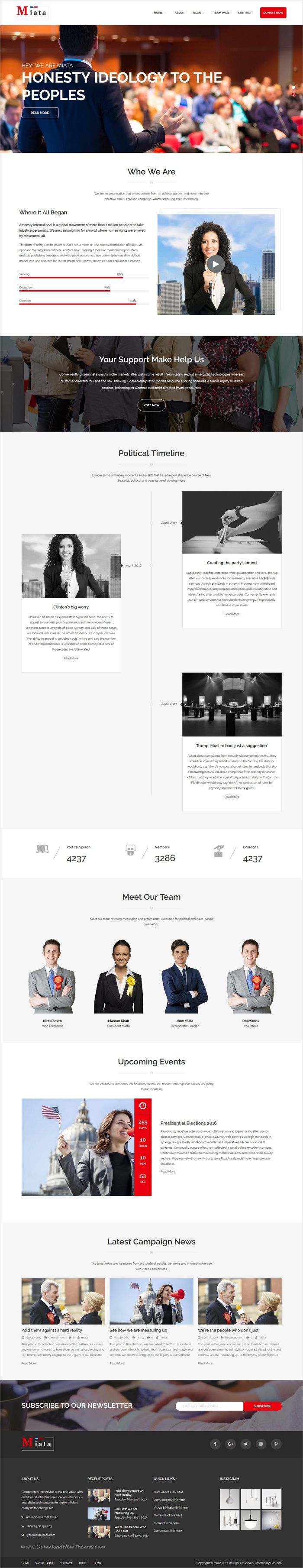 Miata is clean and modern design 3in1 responsive #WordPress theme for political #campaign, candidate, #election or politicians website download now..