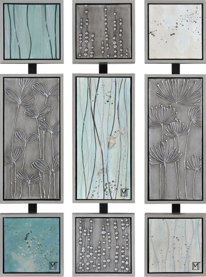 Un ensemble de trois panneaux, peints à la main et placés dans des cadres métalliques / A set of three hand-painted panels features a hint of the Spring to come with their small buds and twigs
