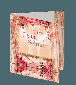 Oosterse trouwkaart zalmkleurig met roze. #trouwkaarten #islamitische