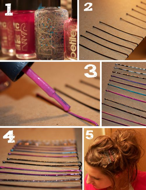 Paint bobby pins with nail polish for fun colors!