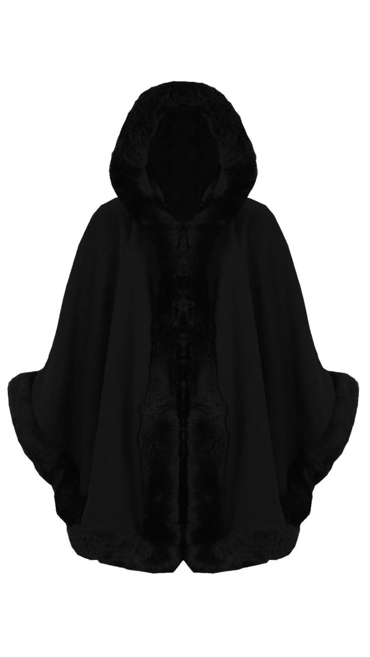 Black Hooded Fur Cape £40  Available On Our Website www.kandiclothesboutique.com