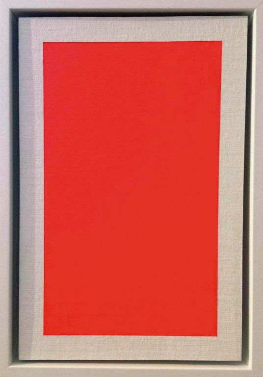 Field (Rouge). Jessica Pearless. Fluroescent acrylic on linen on board.