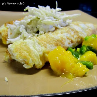Mango y Sal: Chicken & Mango Crepes with Lime Cole Slaw