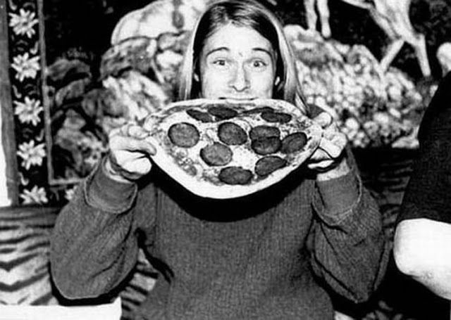 """Kurt Cobain... it's still a shock to realize sometimes the man just sat down and ate an entire pizza like Shaggy from Scooby-Doo. This is something everybody should understand about depression, by the way. Tell me you haven't at least once heard somebody say, """"I refuse to believe it was suicide, I was just out with Mike two weeks ago. He was laughing and joking and eating an entire pizza like it was a video game power-up."""""""