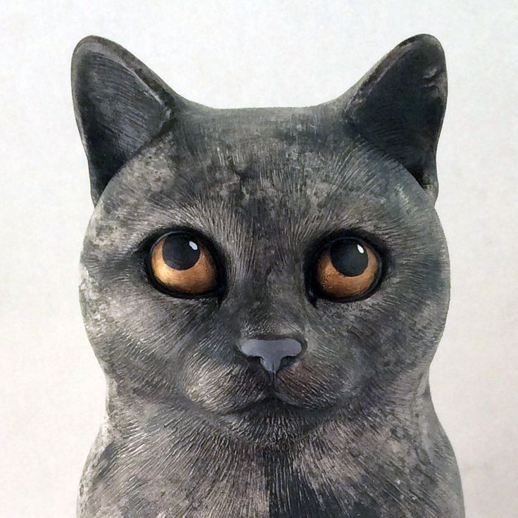 50% OFF Sitting cat statue 15 Grey-blue marble color