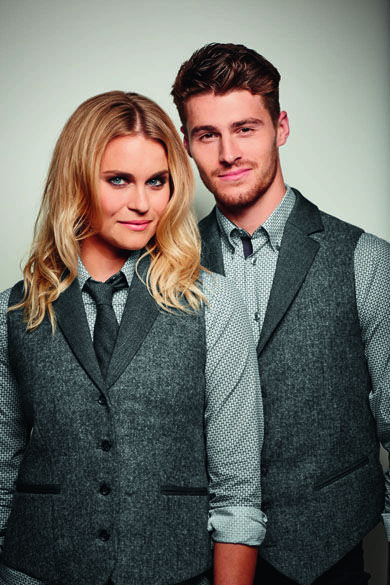 If you need some inspiration for your hospitality uniform, look no further than Simon Jersey.   Men's tweed waistcoat (MW0600) Ladies tweed waistcoat (FW0570) Men's patterned shirt (MS1820) Ladies patterned shirt (FB4610) Skinny tie (TI0970)