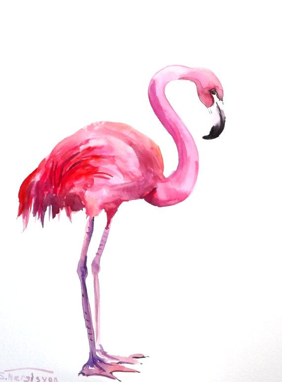 Flamingo, ortiginal watercolor painting, 12 X 9 in, flamingo art pink via Etsy