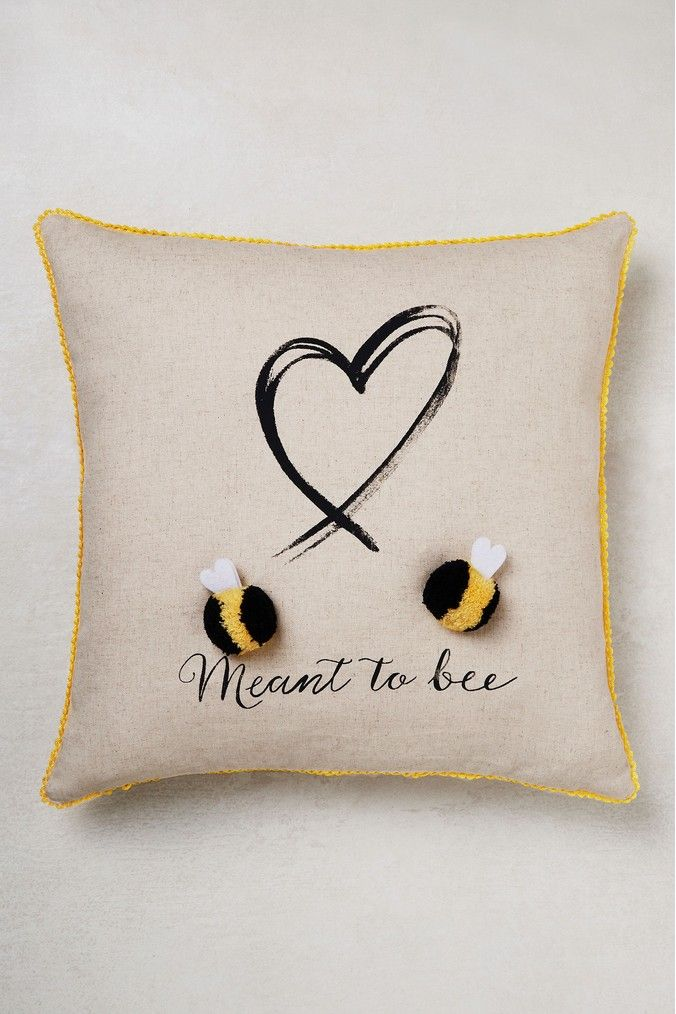 QUEEN Bumble Bee Housse de coussin French linen vintage shabby chic 18x18//Gift Tag