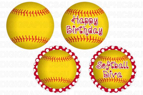 Happy #Birthday #Softball 2 inch Cupcake Toppers #digital file that is emailed to you.  All images are 300 dpi which is professional print quality, 4x6 JPG file.  ****THIS IS ... #printables #tags #labels #custom #supplies #scrapbooking #jewelry #keychains #cupcakes #birthday #softball