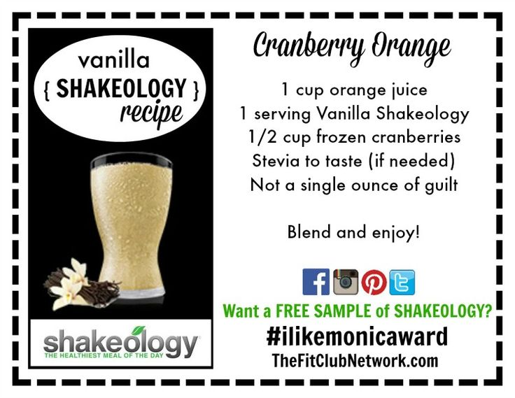 SHAKEOLOGY RECIPE: Cranberry Orange | Click to get more recipes on TheFitClubNetwork.com