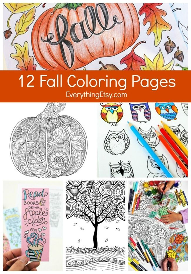 12 Fall Coloring Pages For Adults Everything Etsy