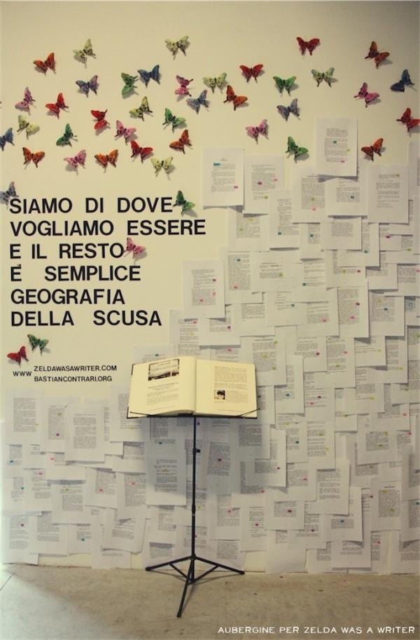 """L'installazione per """"Farfalle in un lazzaretto"""" allo spazio cubo di Writers    Photo credits: Aubergine factory"""