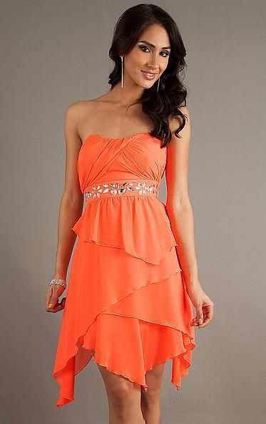 Favodresses.com is a professional women's dresses online shop,where you can find your favourite Layers Charming A-line Short Orange Dress.