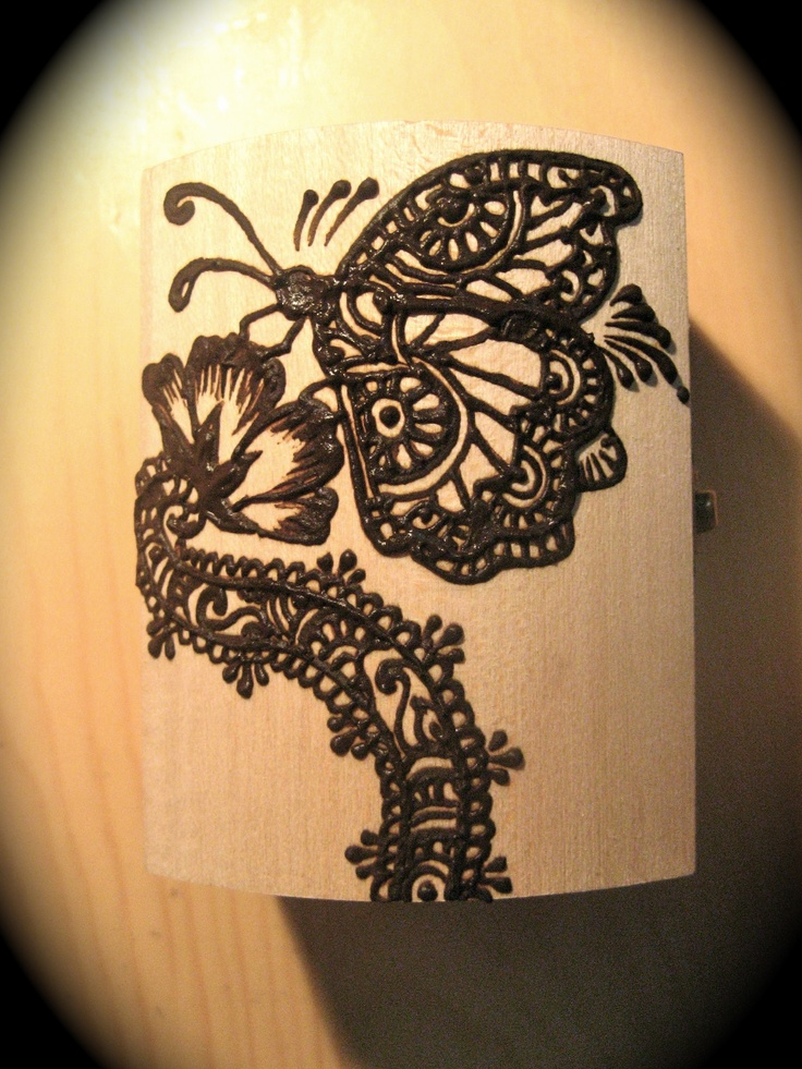 Mehndi Tattoo Butterfly : Butterfly inspired wooden henna jewelry box by sara s
