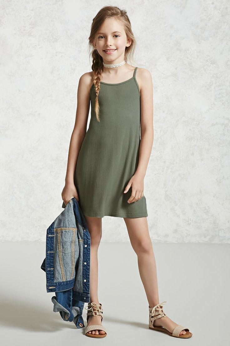 Forever 21 Girls - A ribbed knit dress featuring a scoop neck, cami straps with a crisscross back, and a shift silhouette.