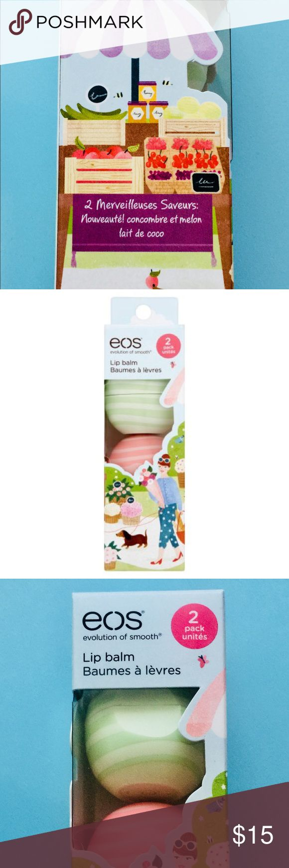 Limited Edition EOS Lip Balm, 2 pack. BRAND NEW This is a 2 pack of EOS lip balm. One of them is a melon flavor, the other is coconut milk flavored. They are brand new, never used, sealed in the box. They have been handled with love & care in a smoke/drug-free household. Hope you enjoy this item! It makes a great gift. If you have any questions, PLEASE do not hesitate to contact me! 😊 The item will be shipped out one business day after I recieve payment, or the same day if I have time…