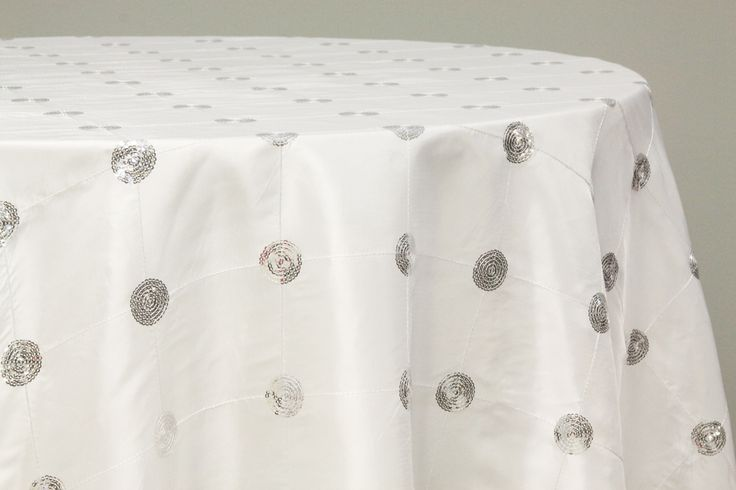 Sequin Embroidery Taffeta 120 Quot Round Tablecloth White