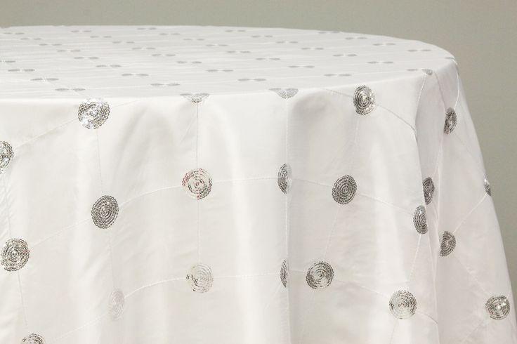 Sequin Embroidery Taffeta 120 Inch Round Tablecloth White