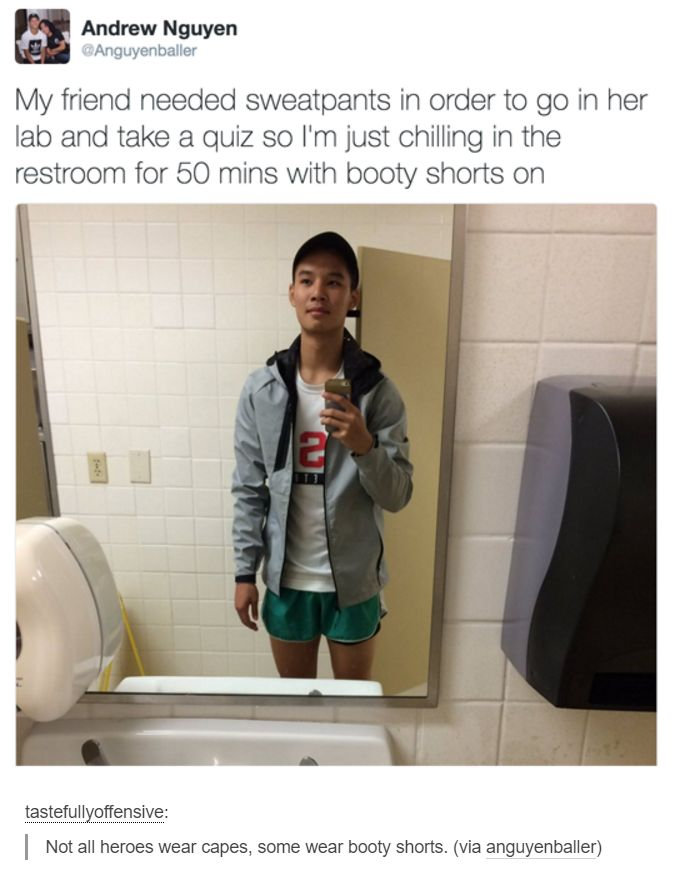 Friendship and wtf you made her change her booty shorts in order to take a quiz....omg his thighs are to much I night pass out!?..