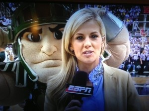 Sparty dominated every part of Tuesday night's showdown between No. 8 Michigan State and No. 4 Michigan, including this photobomb of Samantha Ponder.