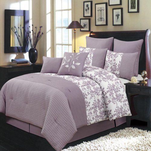 Bliss Purple and White Queen size Luxury 8 piece comforter set 100% polyester #RoyalTradition #Modern