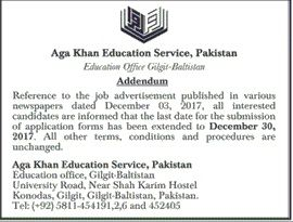 Gilgit-Baltistan Career, Educational & Social Forum: Aga khan Education service Pakistan Addendum