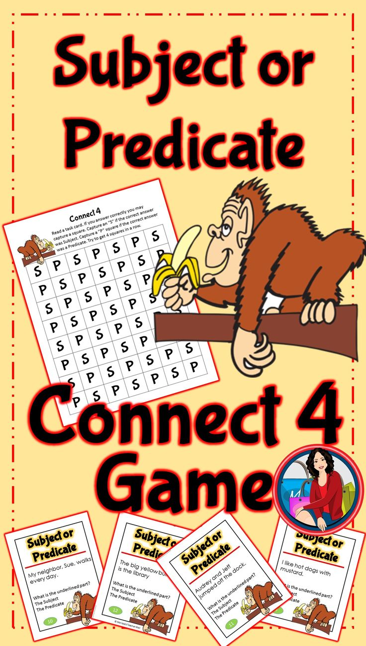 Subject and Predicate: Use this Subject or Predicate Game Activity for small groups or independent literacy station work during guided reading. Students identify the underlined portion of a sentence as either the subject or the predicate. If they answer correctly they capture a square on the game board.