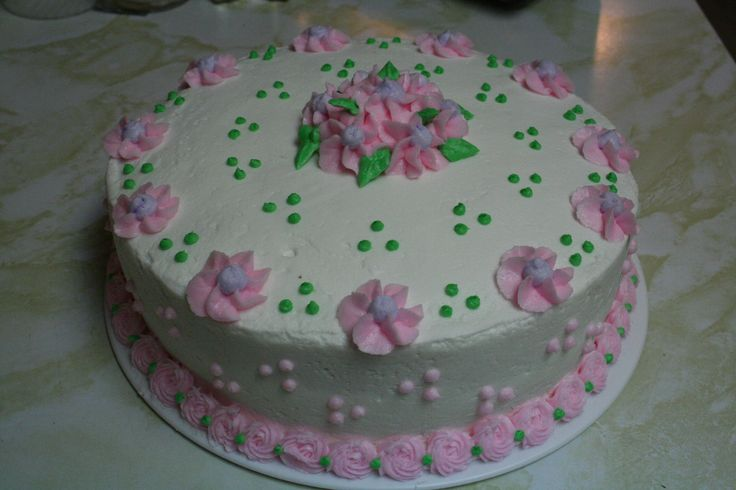 Flower cake I made during my Wilton class, May 2011.