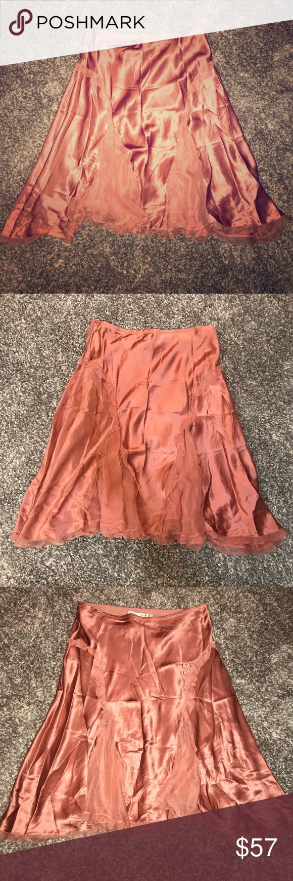 Max Studios Coral Satin Silk Skirt So cute with a pump and crop top Max Studio Skirts