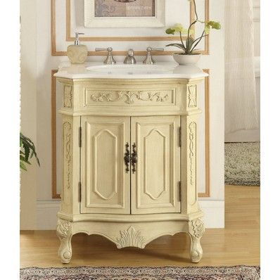 "Spencer 27"" Antique Single Sink Bathroom Vanity in Cream by Chans Oriental | Discount Bathroom Vanities"