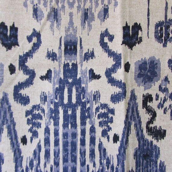 MUMBAI INDIAN BLUE/indigo ikat designer by reneesfabrics on Etsy
